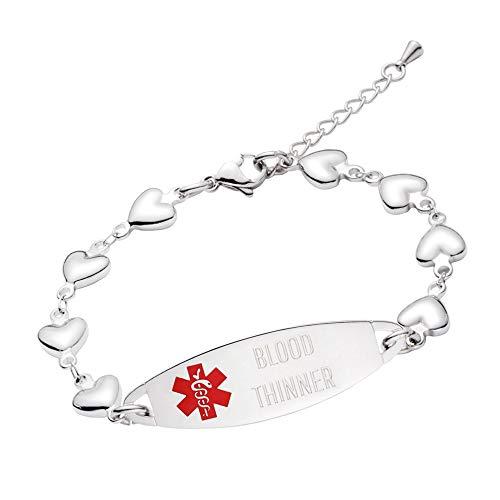 linnalove-Fashion Heart Chain Medical Alert id Bracelet for Women & Girl-Blood THINNER ()