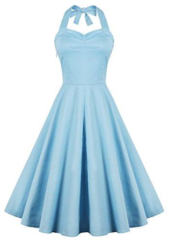 V Fashion Women's Rockabilly 50s Vintage Solid Color Halter Cocktail Swing Dress, Light Blue L