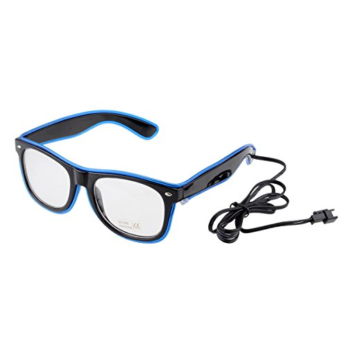 [El Wire LED Light up Shutter Glasses for Party Concert 3-mode Sound Control Blue] (Very Funny Costumes)