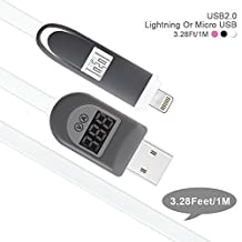 2 in 1 Smart Cable,Smilism 3.3ft Lightning USB Cable with USB Current Voltage Monitor - Smart LCD Display for iPhone, Sumsung, Motorola, Nokia and More (White)