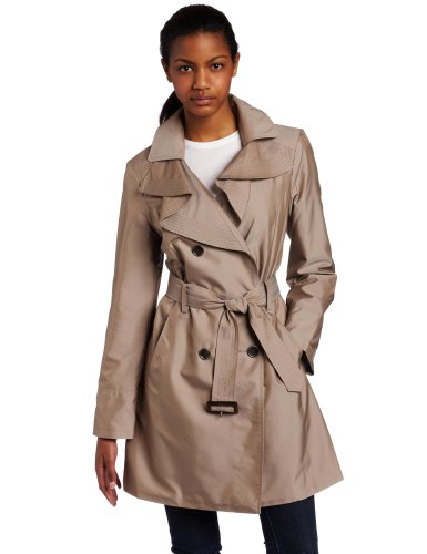 Ak Anne Klein Womens Ruffleneck Double Breasted Trench