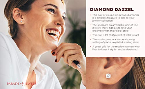 1/4 CT.TW. Lab Grown Diamond Stud Earrings in Platinum Plated Sterling Silver (I-J, SI-SI2))