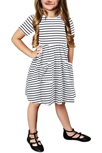 Gorlya Girl's Short Sleeve Lovely Open Back V Neck Elastic Pleated Waist Casual Dress with Front Pockets for 4-12 Years Kids (GOR1005, 11-12Y, Black Stripe)