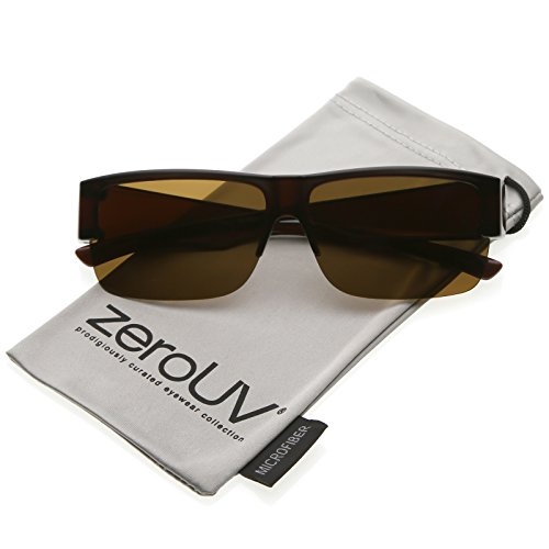 zeroUV - Large Wide Arms Semi Rimless Polarized Lens Rectangle Sunglasses 65mm (Brown / - Wide Mens Frame Sunglasses