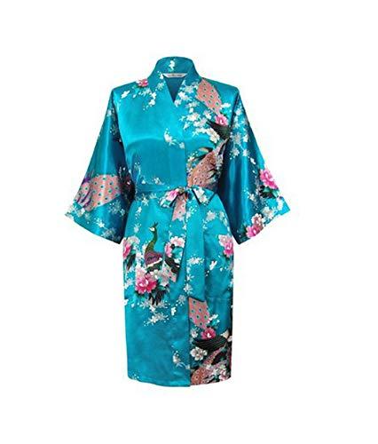 Silk Satin Robe Floral Bathrobe Short Kimono Robe Night Robe Bath Robe,As The Photo show14,L ()
