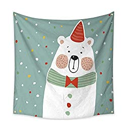 Anniutwo Beach Wall Tapestry Cute Polar Bear with Party hat and Paper Confetti Vector Beach Throw Tapestry 32W x 32L Inch