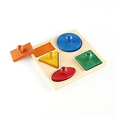 Guidecraft Geometric Colorful Puzzle Board - 5 Shapes: Kids Early Learning Educational and Development Toy: Toys & Games