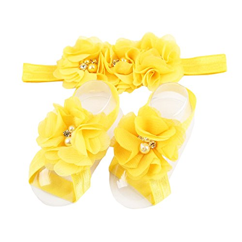 LD DRESS Baby Girl Foot Flower + Headband (Yellow)
