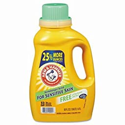Arm & Hammer 33200-09991 Liquid Laundry Detergent HE Compatible, Perfume and Dye Free, 50 oz (Pack of 8)