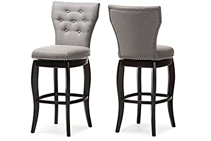 quite nice 590c1 b9093 Baxton Studio Leonice Grey Fabric Upholstered Button-Tufted Swivel Barstool  (Set of 2), 29