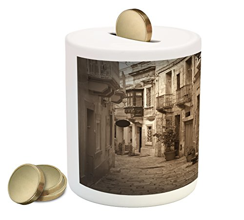 Retro Piggy Bank by Lunarable, Old Narrow Street of European Town with Classic Stone Buildings Malta Culture Picture, Printed Ceramic Coin Bank Money Box for Cash Saving, - Malta New Styles