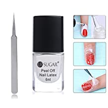 CoulorButtons 6ml UR SUGAR White Peel Off Liquid Latex Easy Clean Nail Tape Finger Skin Protected Palisade Base Coat With 1 Silver Sharp Head Tweezer