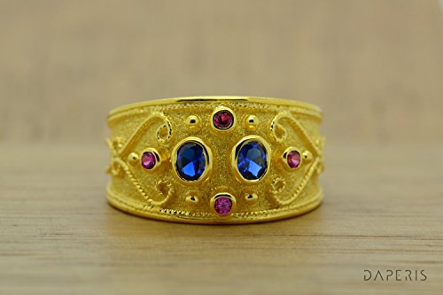 Band Ring, Rubies Sapphires Ring, Sterling Silver Ring, Etruscan Ring, Byzantine Ring, 22K Gold Plated Ring, Greek Jewelry, Luxury Ring, Medieval Ring - Etruscan Yellow Ring