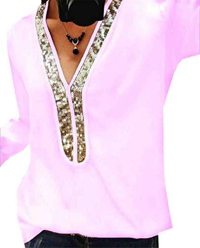 (X-Future Women's V-Neck Chiffon Long Sleeve Glitter Sequins T-Shirt Blouse Tops Pink US 3XL)