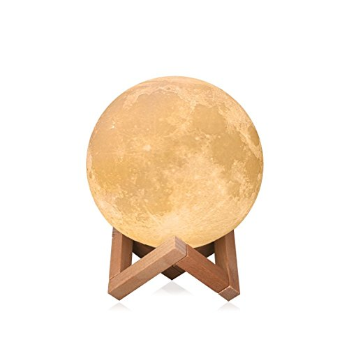 DILAKE 3D Printed Moon Lamp LED Baby Night Ligh Light Table Desk Wooden Base Touch Sensor Dimmable Switch for Bedroom Birthday Decoration (4.1inch) by DILAKE