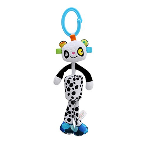Meolin Baby Rattle Soft Plush Baby Car Seat Revolving Hanging Rattles Dangle Toy Mobiles Handbell,Polka dot panda,11.8inch (Dangle Toy Bells)
