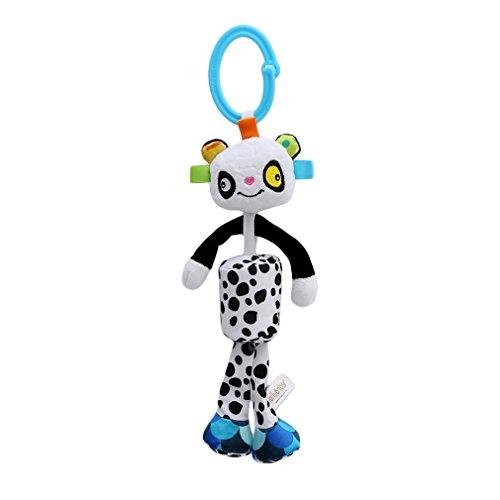Meolin Baby Rattle Soft Plush Baby Car Seat Revolving Hanging Rattles Dangle Toy Mobiles Handbell,Polka dot panda,11.8inch (Rattle Pal)