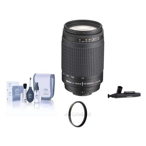 Nikon 70-300mm f/4-5.6G AF Lens Kit, 5 Year Nikon U.S.A. Warranty, with Tiffen 62mm UV Filter, Professional Lens Cleaning Kit, Adorama Hurricane Blower by Nikon