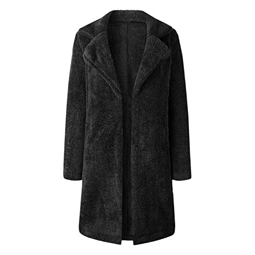Women Open Front Cardigan Long Coat Stylish Winter Turn Down Collar Jackets