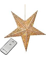 Houten ster met afstandsbediening 40 cm LED verlichte ster Kerstmis venster decoratie