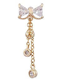 BODYA gold 3 color Stainless Steel Barbell Rhinestone Bowknot Dangle Navel Bar Reverse Belly Ring Body Piercing jewelry 14G