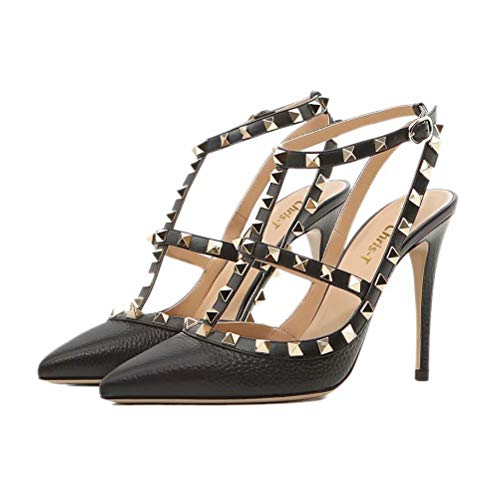 - Chris-T Women Pointed Toe Studded Strappy Slingback High Heel Leather Pumps Stilettos Heeled Sandals Black Pattern Size 8.5US