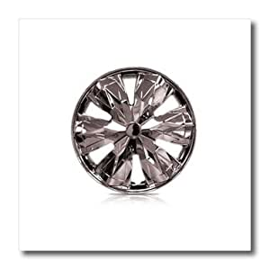 ht_100378_1 Florene Decorative - Photo Of Chrome Hubcap - Iron on Heat Transfers - 8x8 Iron on Heat Transfer for White Material