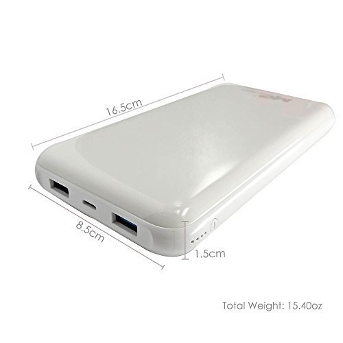Mugen Power 2 USB Daul Model Charge Port 20000mAh Cable Package Fast Charging Power Bank For Samsung, Android, iPhone, SmartPhone, iPads, iPods & Tablets White Body by Mugen Power