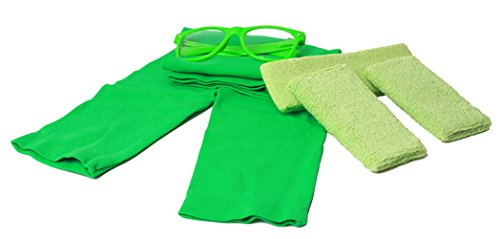 80's Workout Girl Outfit Kit - (Bright Neon Colors) - Neon Green (1980 Fancy Dress Outfits)