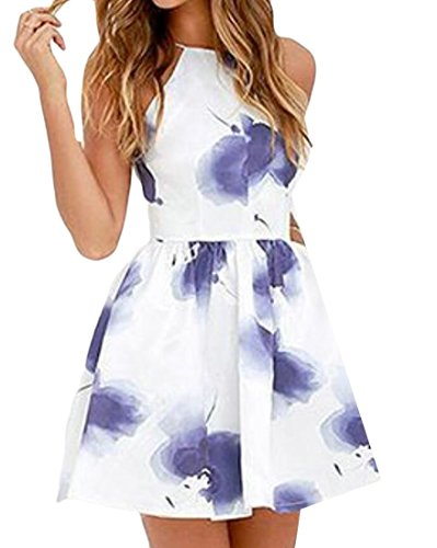 Mini Print Open Pockets Club Flared Womens Domple Dress 1 Floral with Back Sexy CY8xtwq