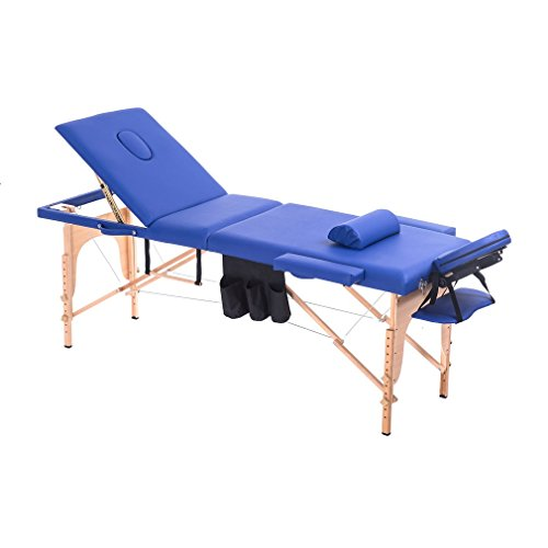 Homgrace Portable Massage Table 3 Fold Hardwood Frame for Facial SPA Bed/SPA Therapy/Beauty Salon (Blue)