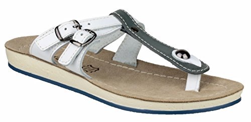 Fantasy Ladies Athens Leather Metal Buckle Flip Flop Sandal White Blue/White
