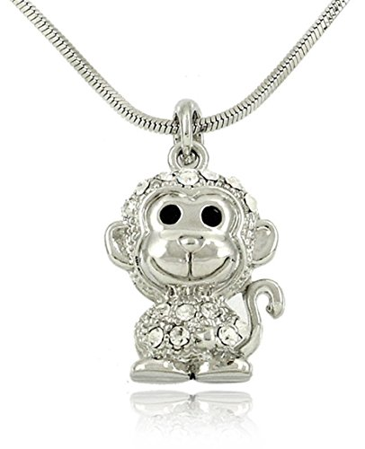 "Adorable Small 3D Silver Tone 3/4"" Monkey Charm Pendant Necklace Embellished with Sparkling Crystals"