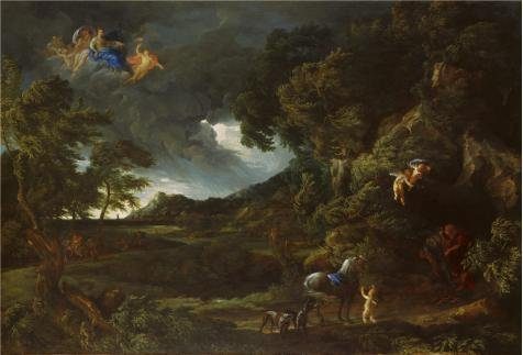 High Quality Polyster Canvas ,the High Resolution Art Decorative Canvas Prints Of Oil Painting 'Gaspard Dughet And Carlo Maratta - Landscape With The Union Of Dido And Aeneas,about 1664-8', 10x15 Inch / 25x37 Cm Is Best For Dining Room Gallery Art And Home Artwork And (Toddler Mossy Oak Flower Girl Dress)