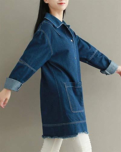 Manga Mujer Vaqueras Elegante Blau Grande Hell Otoño Señora Jacket Colores Cierre Outerwear Bolsillos Rasgado Sólidos Con De Moda Abrigos Primavera Botones Chaqueta Talla Casuales Larga Anchas Coat Cazadoras radwrxf