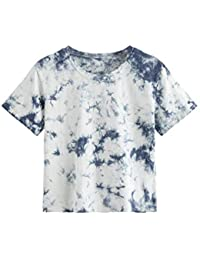 Women's Casual Short Sleeve Tie Dye Basic Tee