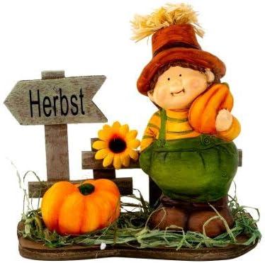 Dekofigur Herbstdeko Bauer am Zaun mit K/ürbisse Herbstfigur Herbst