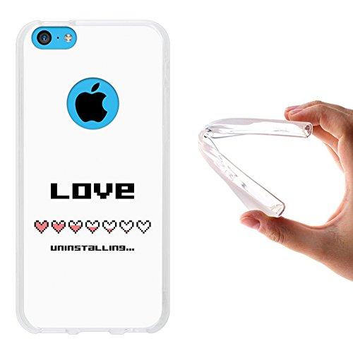 WoowCase Hülle Case für { iPhone 5C } Handy Cover Schutzhülle Pixel Style - Love Uninstalling
