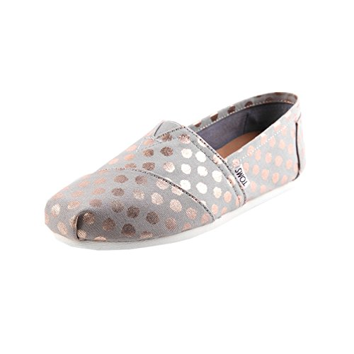TOMS Women's Classics Flat Drizzle Grey/Rose Gold Foil Polka Dot Size 7 B(M) US