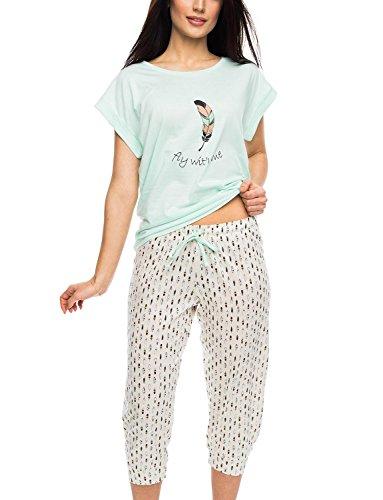 Rossli SAL-PY 1056 Pijama De Dos Piezas Para Mujeres Camiseta Kimono Manga Corta Pantalón 3/4 beige-menta