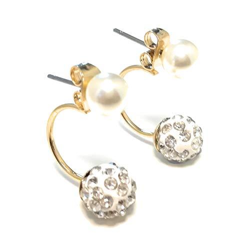 Mode 2 Stk Damen Gold Silber Blume Ohrringe Kristall Rhinestone Perle-Ohrstecker