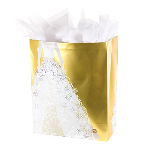 Hallmark Wedding Extra-Large Gift Bag with Tissue Paper (Jeweled Wedding Dress on Gold) ()