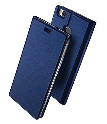 長方形申請中宿Huawei P9 Lite 手帳型 ケース、Uniqe 軽量 P9lite PREMIUM 用 マグネット スタンド機能付き [高級 PU レザー+TPU素材] 全面保護カバー (Huawei P9 Lite, ブルー)