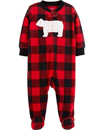 Carter's Baby Boy Buffalo Check Zip-Up Fleece Sleep & Play (6 - Pajamas Footed Plaid