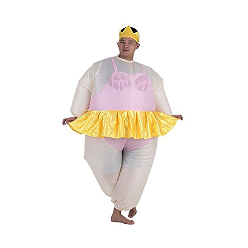 Fat Air Suit Costume (Dumonsly Funny Cute Inflatable Costume Fat suit Ballet-dancer Jumpsuit for Christmas Gift, Pink)