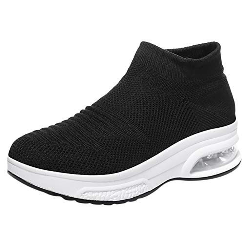 Pengy Women's Summer Flying Woven Breathable Slip-On Socks Shoes Air Cushion Sneakers for Ladies Black