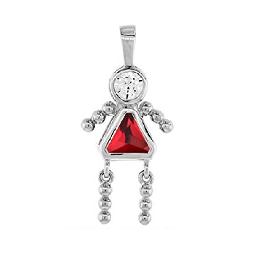 CloseoutWarehouse Simulated Ruby Cubic Zirconia July Birthstone Girl Flat Charm Rhodium Plated