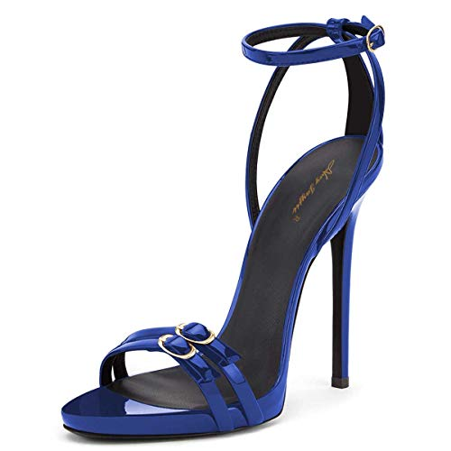 NJ Women Sexy Open Toe Stiletto High Heels Dress Sandals Ankle Strap Buckles Glossy Patent Evening Party Pumps Shoes Royal Blue 7