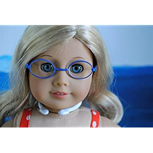 """Unique Doll Clothing Oval Blue Frame Doll Eyeglasses for American Girl Dolls and 18"""" Doll"""