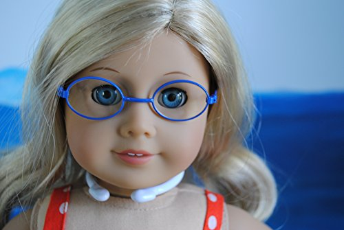 Unique Doll Clothing Oval Blue Frame Doll Eyeglasses for American Girl Dolls and 18